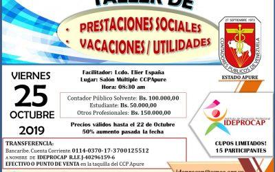 Taller de Prestaciones Sociales, Vacaciones y Utilidades